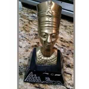 Brass Egyptian Statue Queen Nefertiti Bust Figurin